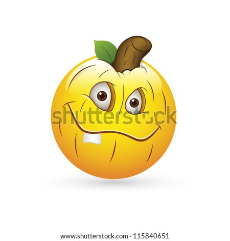 Smiley Emoticons Face Vector - Pumpkin Expression