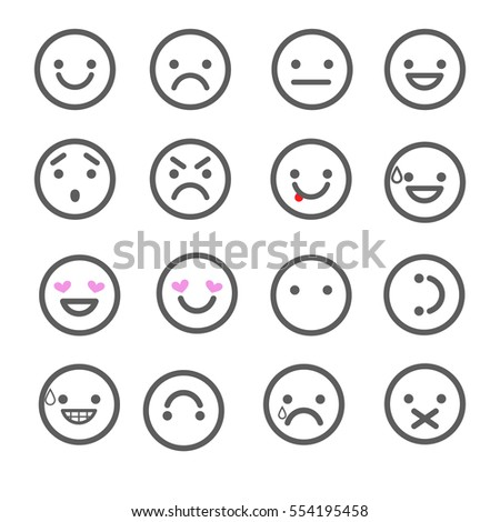 Smiley emoticons line icons.  Happy, sad, upset, crying, love, cool, star, kiss, sleepy and other vector emotions.