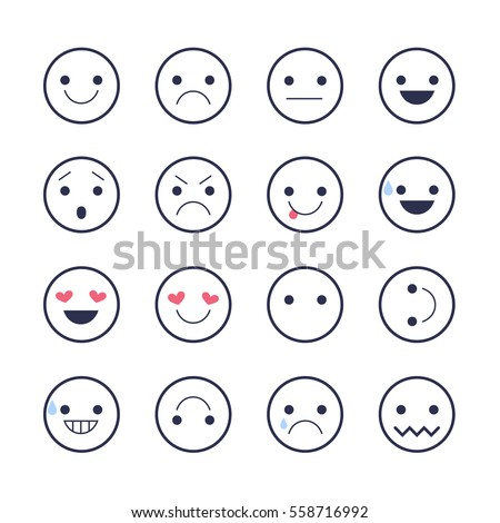Smiley emoticons line icons.  Happy, sad, upset, crying, love, cool, star, kiss, sleepy and other emotions.