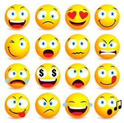 Smiley face and emoticon simple set with facial expressions isolated in white background. Vector illustration