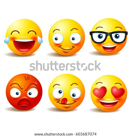 Smiley face icons or yellow emoticons with emotional funny faces in realistic . emojis .Vector illustration