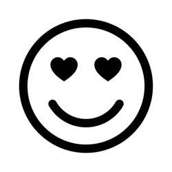 Smiley face in love line art vector icon for apps and websites
