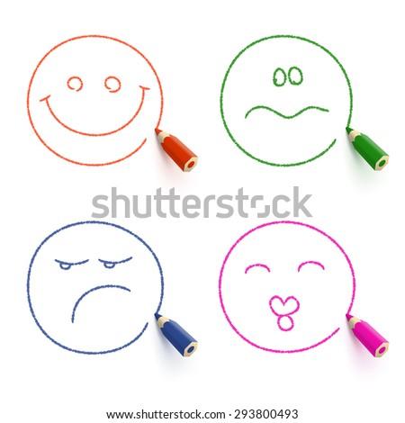 smiley face   kissing face  sad