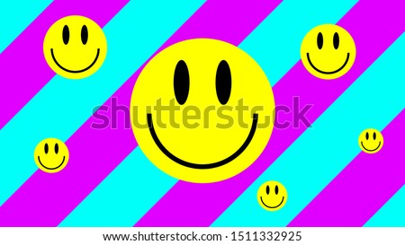 Smiley Face. Lsd Poster. Digital Urban Colorful Smile. Acid Style Wallpapers. Acid Smile On Pink And Blue Geometric Background