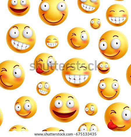 Smiley face pattern vector background. Continuous, endless or seamless smileys pattern with funny facial expressions in white background. Vector illustration.