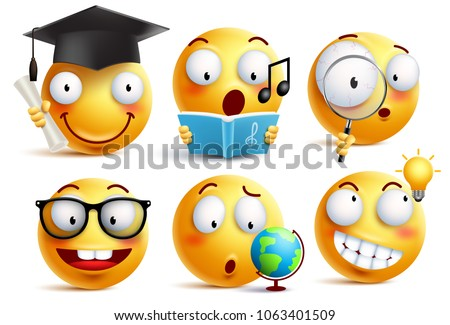 Shutterstock Smiley face student vector emoticons set with facial expressions and studying school activities isolated in white background. Back to school vector icons.