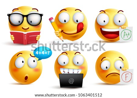 Shutterstock Smiley face vector set for back to school with facial expressions and student school activities isolated in white background. Yellow emoticons vector illustration.