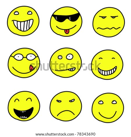 Smiley faces - doodle emoticon expressions. Happy, sad and confused balls. Vector version is easily editable.
