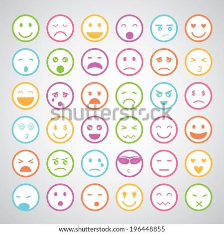 smiley faces icons cartoon set