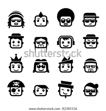 smiley faces men characters