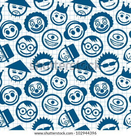 Smiley faces seamless pattern on math paper.
