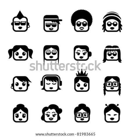 Smiley faces. women characters
