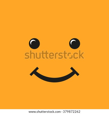 smiley flat style on a yellow