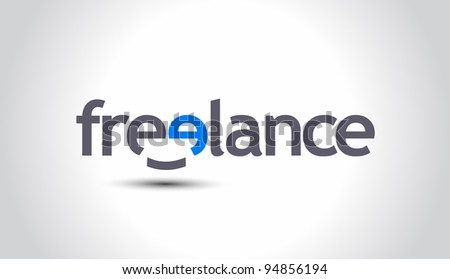 Smiley Freelance word, vector