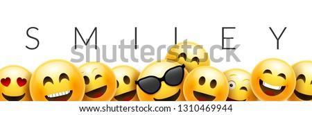 Smiley funny background emoticon face vector wallpaper. Fun smile 3d template design.