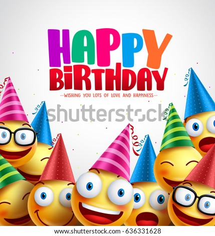 Smiley happy birthday greeting card colorful vector background in white with space for text and message. Vector illustration.