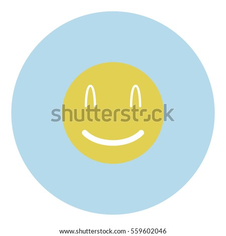 Smiley icon - Flat design, glyph style icon - Blue circle yellow smiley