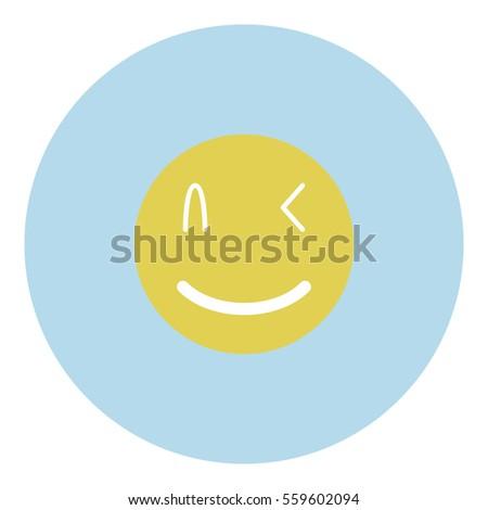 Smiley icon - Flat design, glyph style icon - Blue circle yellow smiley