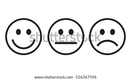 smiley icon outline set vector