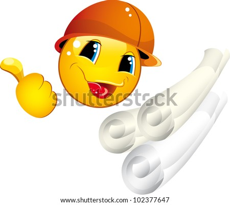 Smiley icons in a helmet with a builder tool shows a gesture OK