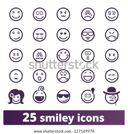 Smiley icons vector set of varied people face expressions