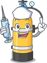 Smiley Nurse oxygen cylinder cartoon character with a syringe