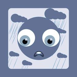 smiley sad in the rain