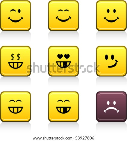 Smiley set of square color icons. - stock vector