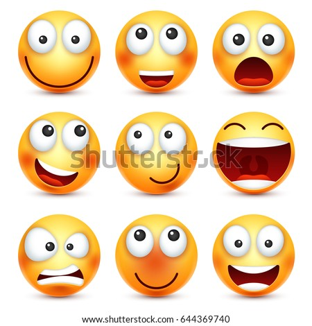 Smiley set,smiling emoticon. Yellow face with emotions. Facial expression. 3d realistic emoji. Funny cartoon character.Mood. Web icon. Vector illustration.