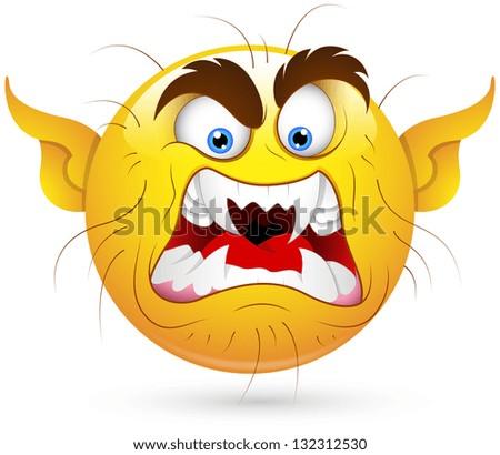 smiley vector illustration ugly wicked monster. Black Bedroom Furniture Sets. Home Design Ideas