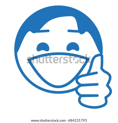 smiley with a thumb up gesture