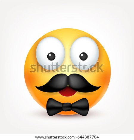 smiley with mustachesmiling emoticon yellow face with emotions facial expression 3d