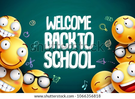 Smileys back to school vector background design. Yellow smiley emoticons with welcome back to school text in blackboard background for education. Vector illustration.