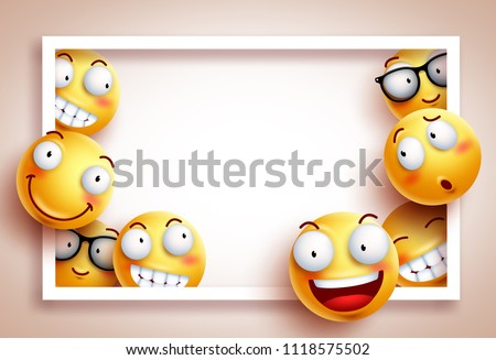 Smileys background vector template with white boarder frame and empty blank space for text and funny yellow emoticons with happy facial expressions. Vector illustration.