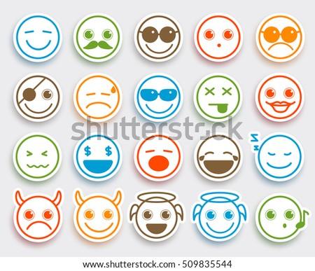 smileys face vector emoticons