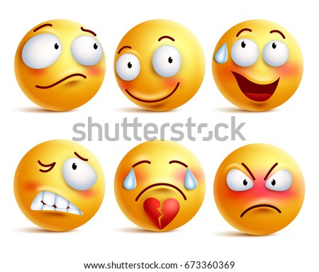 Smileys vector set. Smiley face or yellow emoticons with facial expressions and emotions like happy, shy, angry and broken heart isolated in white background. Vector illustration. - Shutterstock ID 673360369