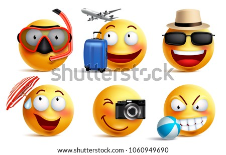 Smileys vector set with summer and travel outfits. Smiley face emoticons with facial expressions and beach elements for summer vacation and holiday in white background. Vector illustration. #1060949690