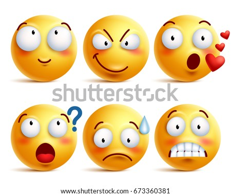 Smileys vector set. Yellow smiley face or emoticons with facial expressions and emotions like happy, in love, and confused isolated in white background. Vector illustration.