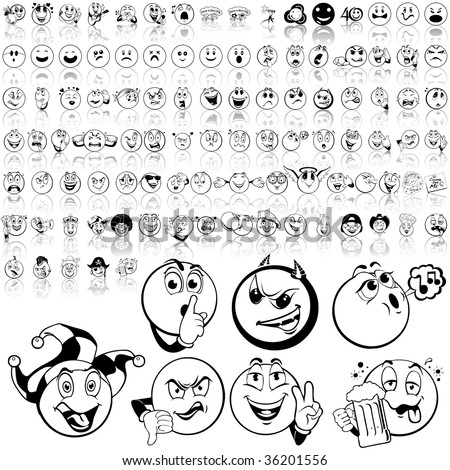 smilies set of black sketch