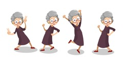 Smiling aged woman expressive dancing. Grey haired funny granny in glasses animation set. Positive elderly woman having fun personage. Active lifestyle at retirement isolated vector illustration