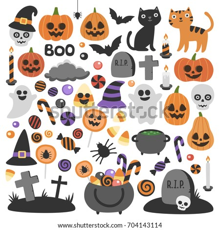 Smiling and funny Halloween illustrations set: pumpkin, ghost, cat, bat, candy jar. Isolated icons