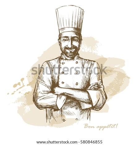 smiling and happy chef. hand...
