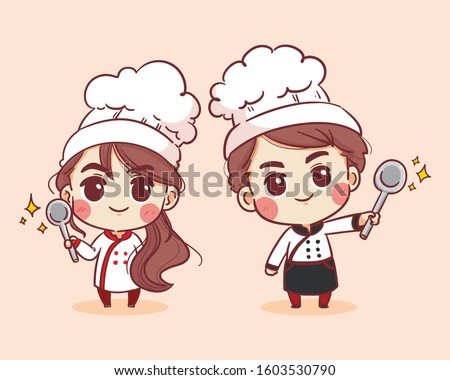 Smiling and happy female chef and male chef. Woman chef and male chef is cooking. Hand drawn vector illustration.