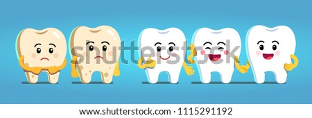 Smiling and upset animated cartoon teeth characters. Healthy white teeth and tooth with dental plaque socializing. Dentistry and dental whitening care clipart. Flat style isolated vector illustration