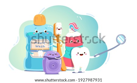 Smiling animated teeth care product cartoon characters. Mouth wash, toothbrush, toothpaste tube, floss, tooth looking into dental mirror. Oral hygiene, care, dentistry concept flat vector illustration