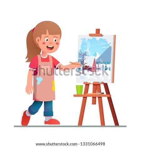 Smiling artist girl kid painting winter picture on canvas on easel. Genius painter student learning and mastering paint. Child art education. Flat vector isolated character illustration