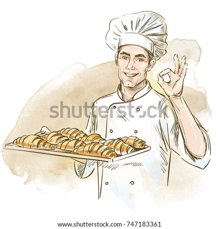 Smiling baker holding plate with croissants. Hand drawn vector illustration on artistic watercolor background. Stock fotó ©