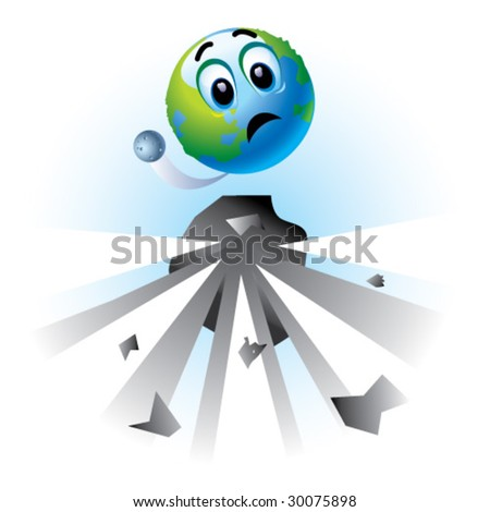 Smiling ball as Earth in danger