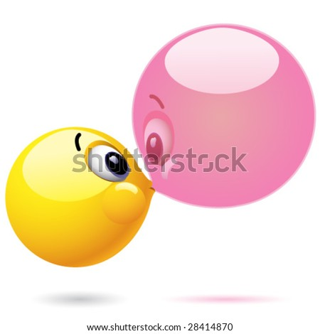 Smiling ball blowing chewing ball bubble
