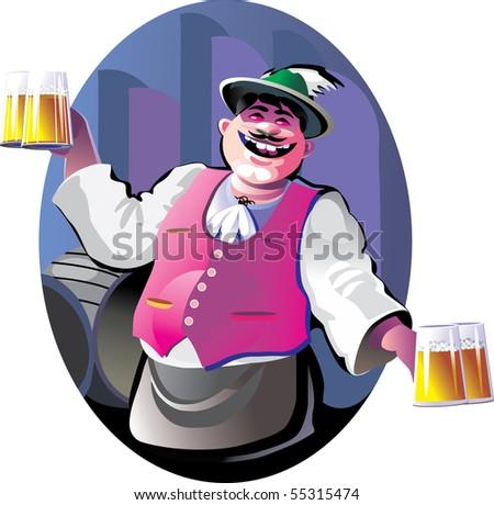 smiling bartender with beer glasses